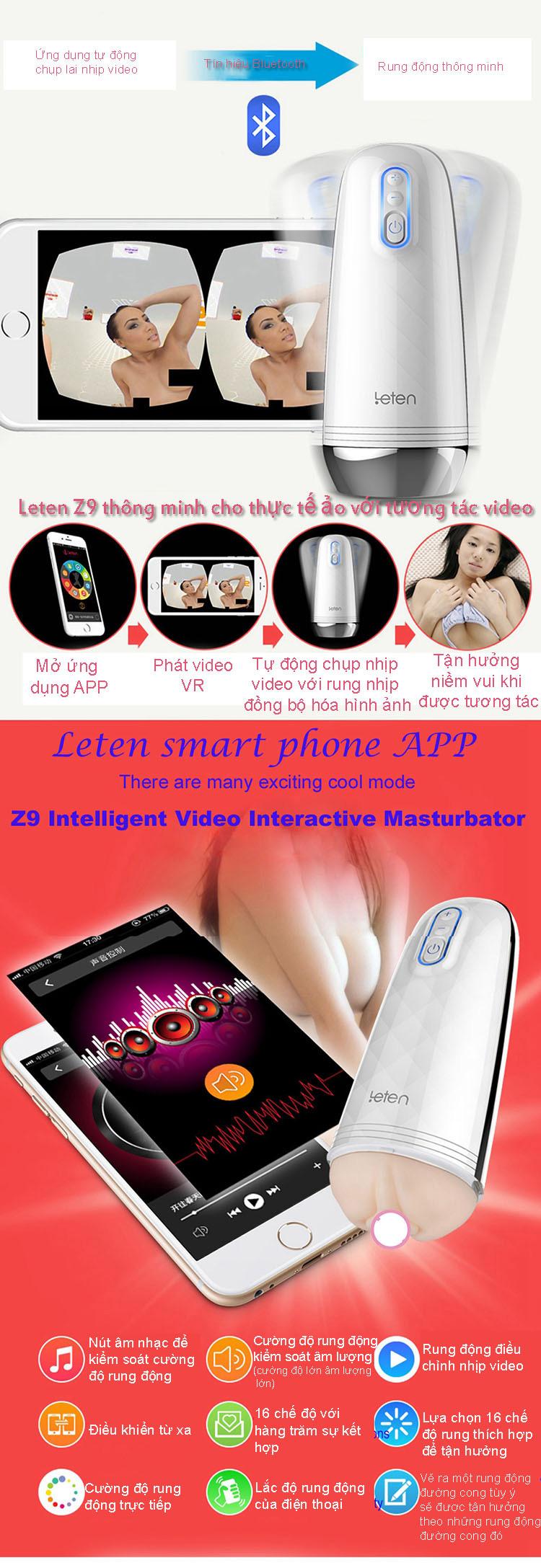 thông tin Cốc thủ dâm Leten Z9 điểu khiển qua mobile